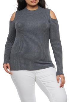 Plus Size Cold Shoulder Sweater - 3920051061077