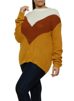 Plus Size Color Block Chevron Sweater - 3920054261363