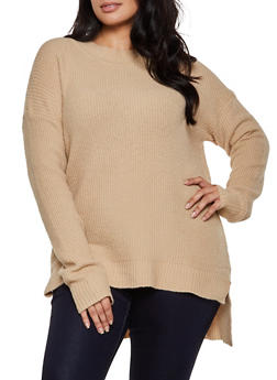 Plus Size Brushed Knit Tunic Sweater - 3920054261458