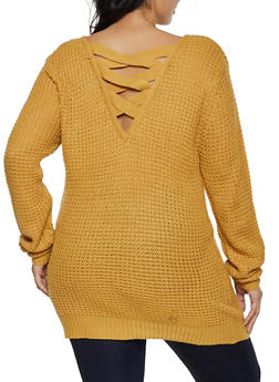 Plus Size Caged Back Tunic Sweater - 3920054261480
