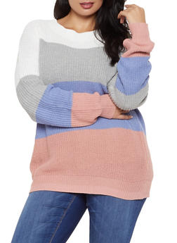 Plus Size Color Block Knit Sweater - 3920054261488