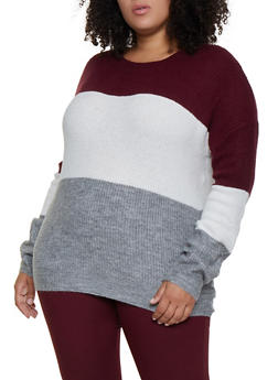 Plus Size Color Blocked Sweater - 3920054261491