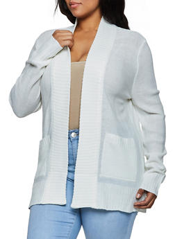 Plus Size Open Front 2 Pocket Cardigan - 3920054263347