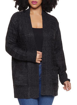 Plus Size Knit Cardigan - 3920054265347