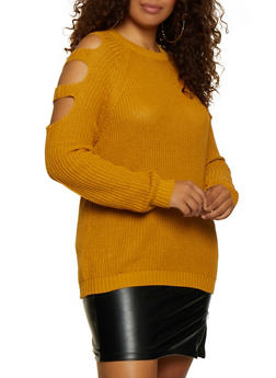 Plus Size Caged Sleeve Sweater - 3920054265921