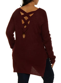 Plus Size Caged Back Sweater - 3920054266882