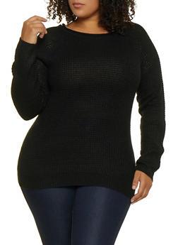 Plus Size Waffle Knit Sweater   3920054266907 - 3920054266907