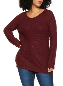Plus Size Waffle Knit Sweater - 3920054267907