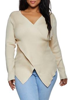 Plus Size Faux Wrap Asymmetrical Sweater - 3920058750230