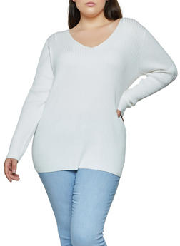 Plus Size Lace Up Back Sweater - 3920058750231