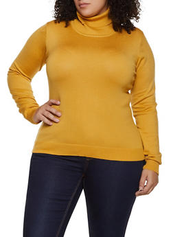 Plus Size Solid Turtleneck Sweater | 3920062700092 - 3920062700092