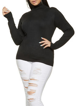 Plus Size Turtleneck Sweater - 3920062707092