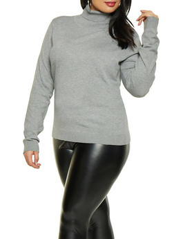 Plus Size Turtleneck Sweater - 3920062707092