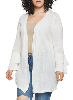 Plus Size Bell Sleeve Cardigan - 3920074051086