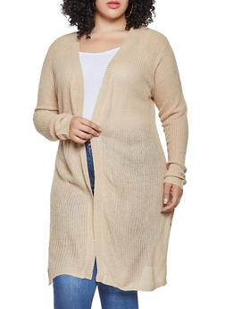 Plus Size Solid Knit Cardigan - 3920074051147