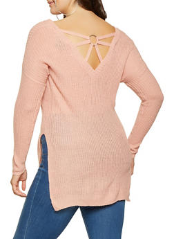 Plus Size Caged Back Sweater - 3920074051259