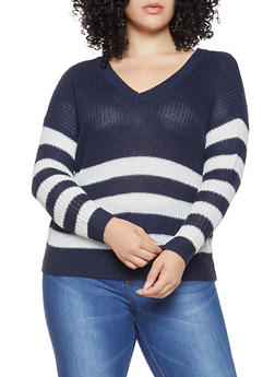 Plus Size Striped Caged Back Sweater - 3920074051260