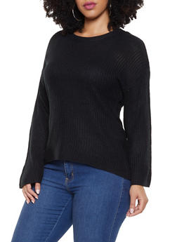 Plus Size Bell Sleeve High Low Sweater - 3920074051265