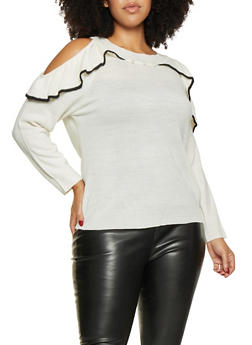 Plus Size Ruffle Cold Shoulder Sweater - 3920074051282