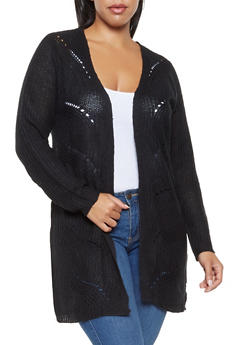 Plus Size Lace Up Knit Cardigan - 3920074051309