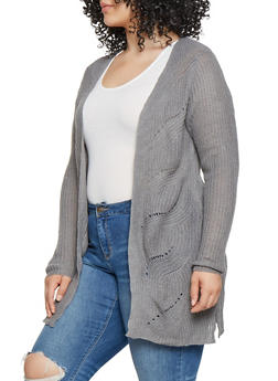 Plus Size Lace Up Knit Cardigan - 3920074051309