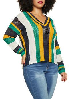 Plus Size Striped V Neck Sweater - 3920074051325
