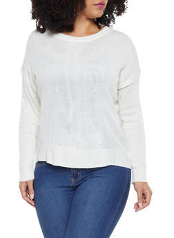 Plus Size Faux Pearl Studded Sweater - 3920074051351
