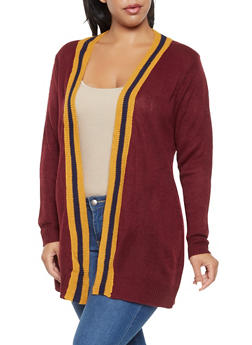 Plus Size Contrast Trim Cardigan - 3920074051401