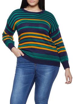 Plus Size Striped Long Sleeve Sweater - 3920074051405