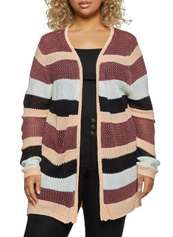Plus Size Striped Pointelle Cardigan - 3920074051446