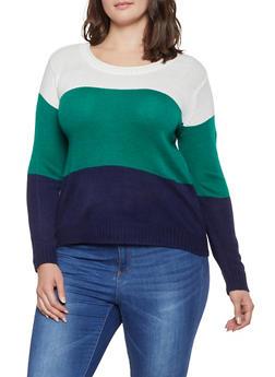 Plus Size Color Block Sweater - 3920074051460