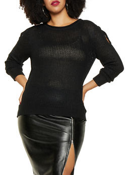 Plus Size Split Sleeve Sweater - 3920074051462