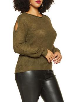 Plus Size Split Sleeve Sweater - 3920074051462