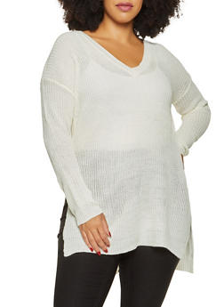 Plus Size Side Slit Sweater - 3920074051463