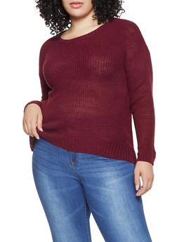 Plus Size Scoop Neck Sweater - 3920074051464
