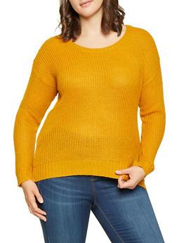 Plus Size Scoop Neck Sweater - 3920074051464