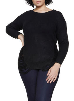 Plus Size Distressed Crew Neck Sweater - 3920074051465