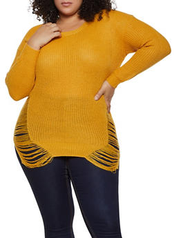 Plus Size Distressed Crew Neck Sweater - 3920074051465