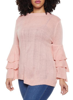 Plus Size Tiered Sleeve Sweater - 3920074051466