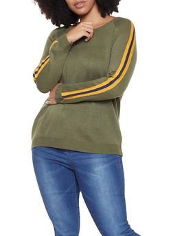 Plus Size Side Stripe Sweater - 3920074051486