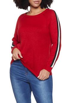 Plus Size Side Stripe Sweater - 3920074051486