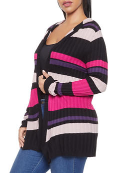 Plus Size Hooded Striped Cardigan - 3920074051663