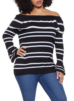 Plus Size Striped Off the Shoulder Sweater - 3920074051664