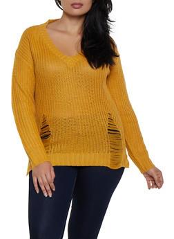 Plus Size Long Sleeve Shredded Sweater - 3920074051803