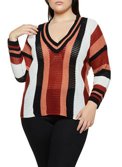 Plus Size Striped Pointelle Sweater - 3920074051858
