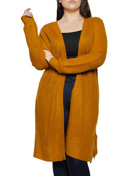 Plus Size Side Slit Knit Duster - 3920074051861