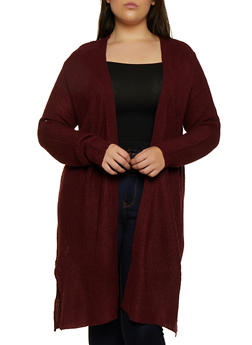 Plus Size Side Slit Knit Duster - 3920074051861