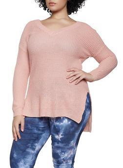 Plus Size V Neck Sweater - 3920074051863