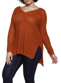 Plus Size V Neck Sweater - 3920074051863