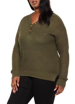 Plus Size Button Detail V Neck Sweater - 3920074051864